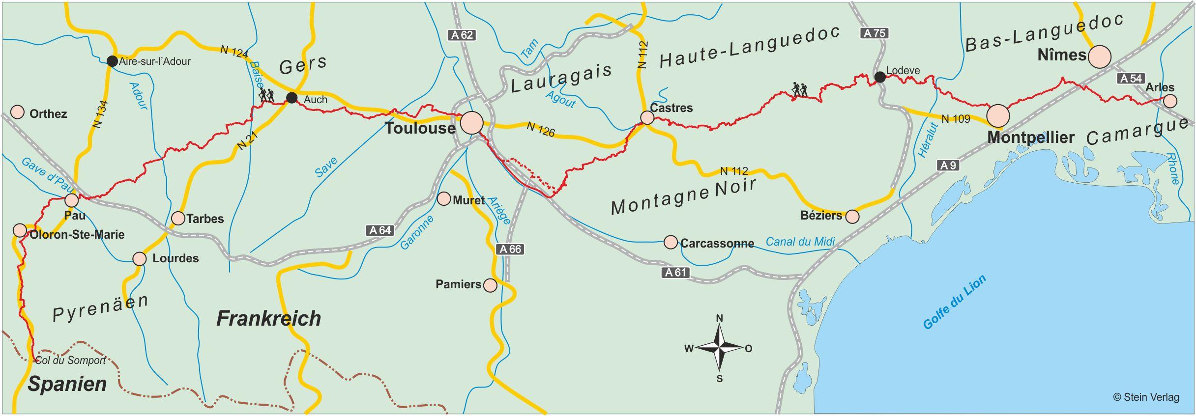 Übersichtskarte Camino Tolosana
